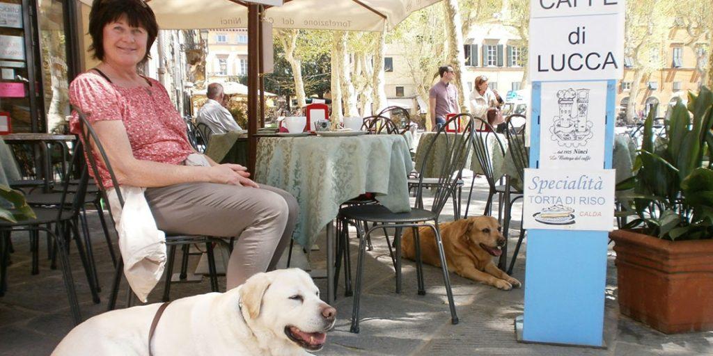 Restaurant mit Hund in der Toskana